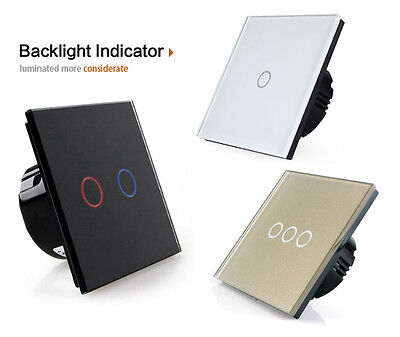 1/2/3 GANGs 1/2 WAYs LED TOUCH PANEL WALL SWITCH CONTROL SMART HOME