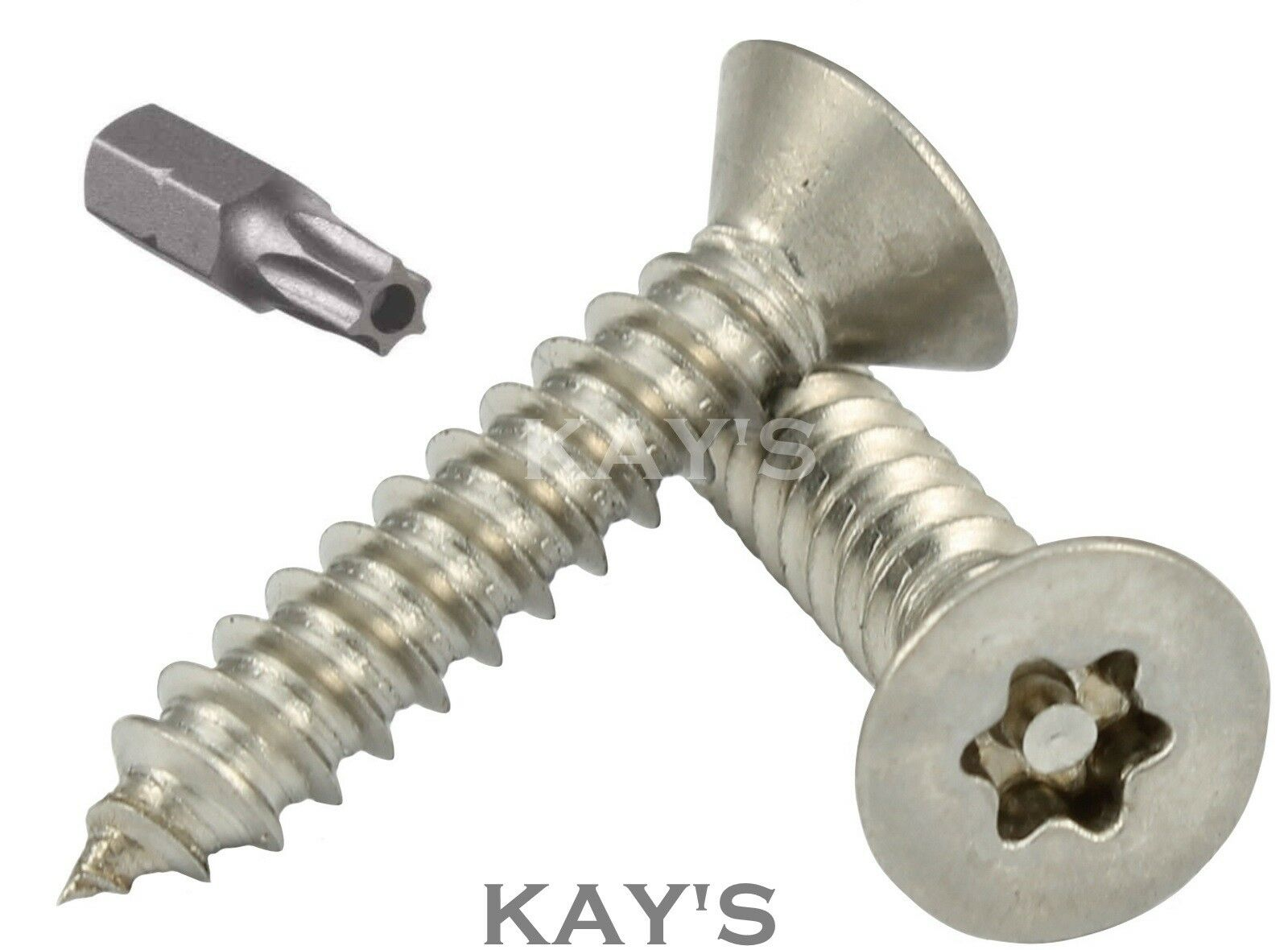 COUNTERSUNK SECURITY SCREWS TORX SELF TAPPING WOOD STAINLESS STEEL No.6,8,10,12