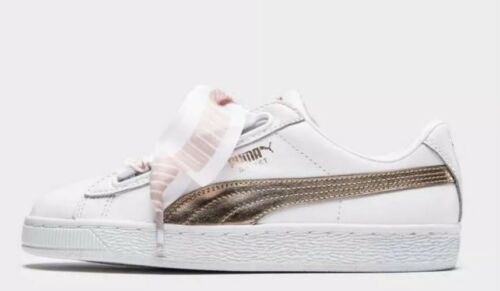 Uk Size Metallic Ladies Gold rose Trainers Basket 5 White Puma Heart 5 z4azgq