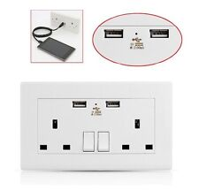 2 X USB DOUBLE WALL SOCKET 13 AMP UK PLUG 2 GANG SWITCH ELECTRIC CHARGER POWER