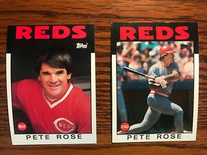 1986 Topps  #1 # 741 Pete Rose Baseball Card Lot of 2 Cincinnati Reds Raw