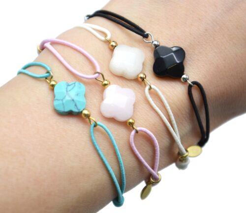 BC3002D Bracelet Cordon Elastique avec Charm Trèfle Rose et Perles Acier Doré