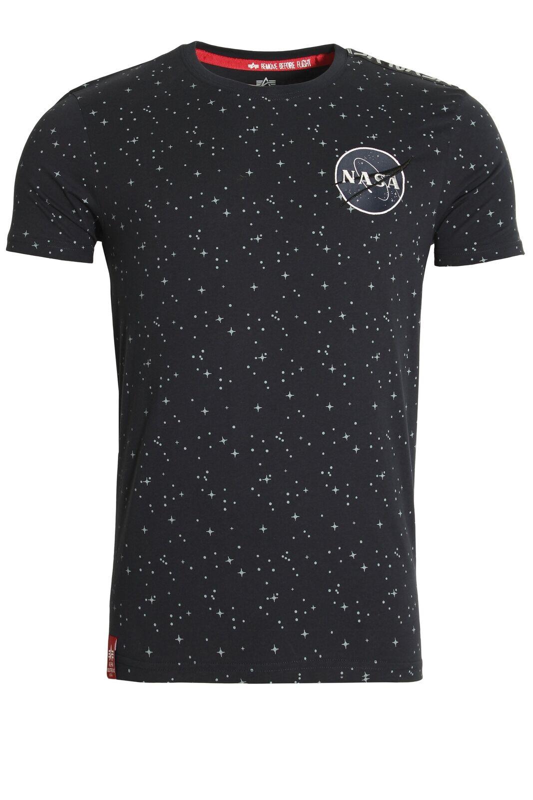 Mens T-Shirt ALPHA INDUSTRIES NASA Taped Star Print T-Shirt   Rep bluee