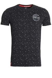 T-Shirt-Uomo-Alpha-Industries-Nasa-Registrato-Stella-Stampa-T-Shirt-Rep-Blu