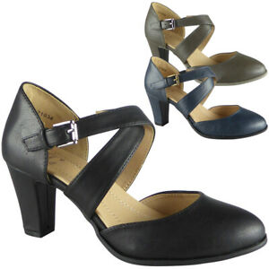 New-Womens-Ladies-Mary-Jane-Court-Buckle-Shoes-Strappy-High-Heel-Comfy-Sizes