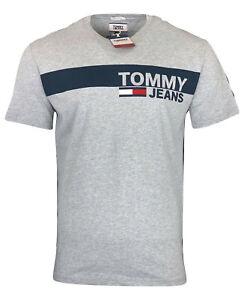 Tommy-Hilfiger-Men-039-s-Crew-Neck-Cotton-Tommy-Jeans-T-Shirt-Regular-Fit-Gray