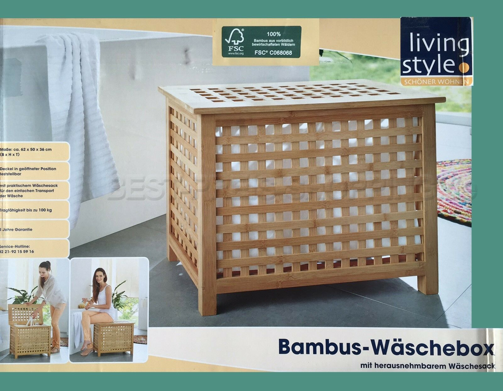 bambus w schebox bambusholz fsc mit herausnehmbarem w schesack sitzbank bad ebay. Black Bedroom Furniture Sets. Home Design Ideas