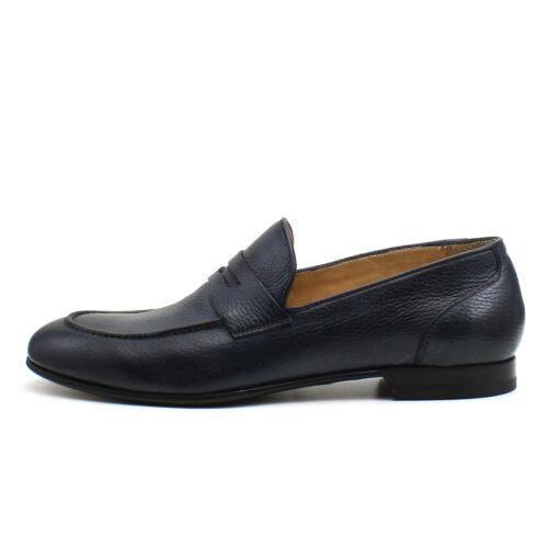 Men/'s mocassin blue leather shoes handmade Italian elegant GIORGIO REA 7736BL