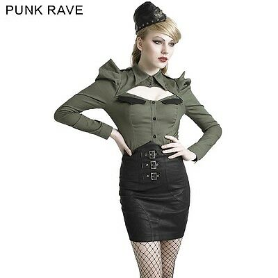 Q279 Punk Rave Kera Dolly Gothic Rope Soft Leather High Waist Skirt