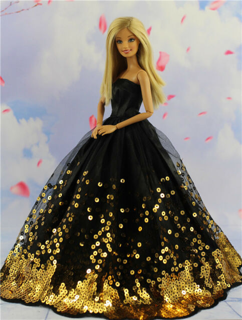 Fashion Princess Party Black Sequin Dress Wedding Clothes/Gown For Barbie Doll 1