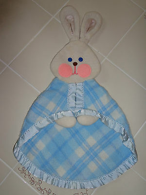 Vintage 1979 Fisher Price Security Blanket Blue Plaid Puppet 404 Mexico FP RARE