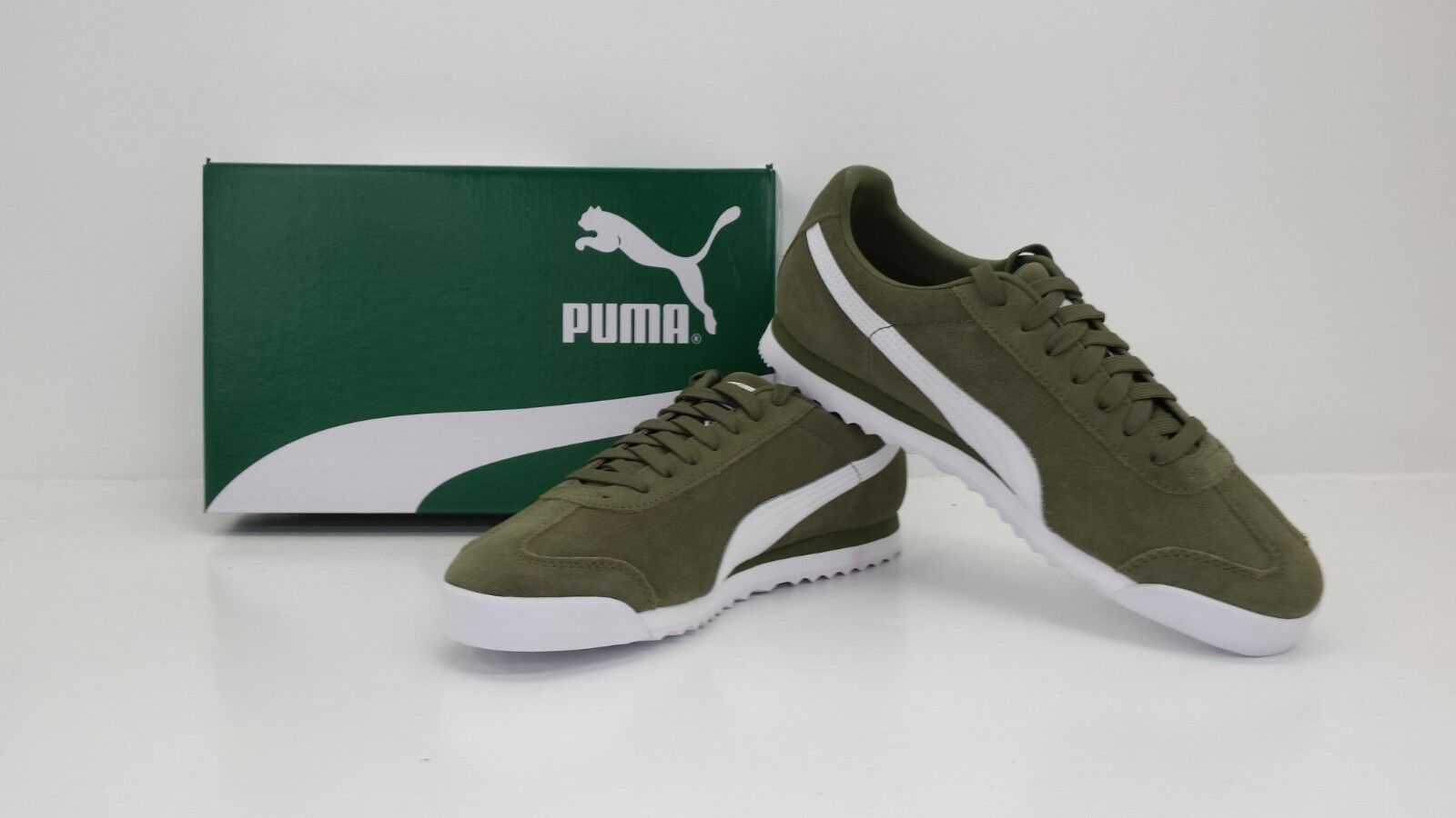 PUMA ROMA SUEDE SNEAKERS CAPULET OLIVE WHITE 365437 04 - BRAND NEW IN BOX