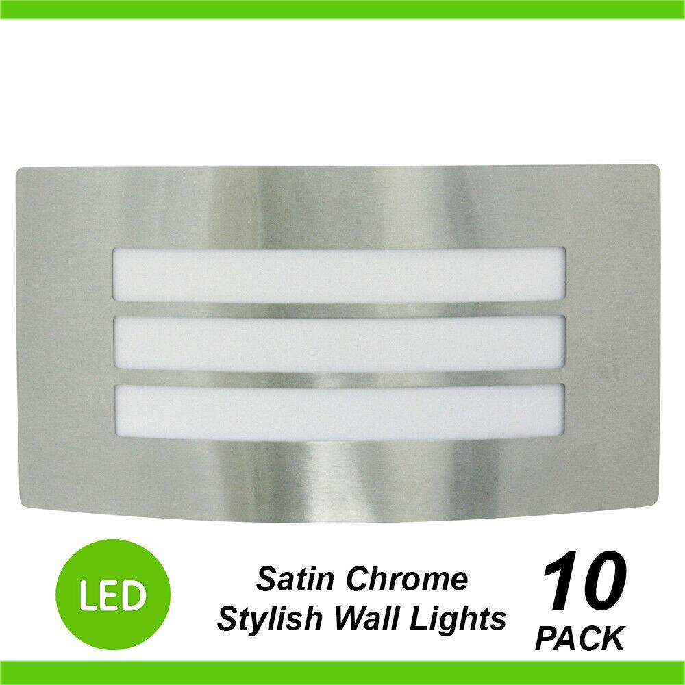 10 x LED de luces de parojo Cromo Satinado Bunker Rectangular W Rejilla Exterior al Aire Libre