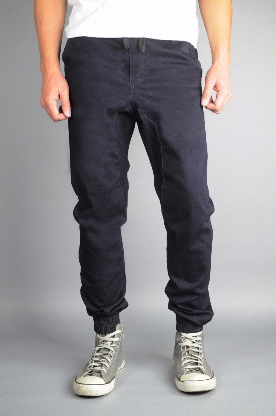 Navy bluee Premium plus denim joggers twill jeans made in the USA with stretch
