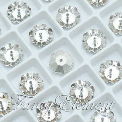 Glass Marguerite 10mm Clear Crystal Sew On Rhinestone Flower Beads Stones Sewing