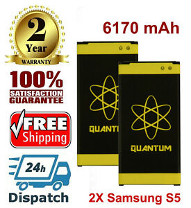 2X-Quantum-6170mAh-Extended-Slim-Batteries-For-Samsung-Galaxy-S5-i9600-SM-G900V