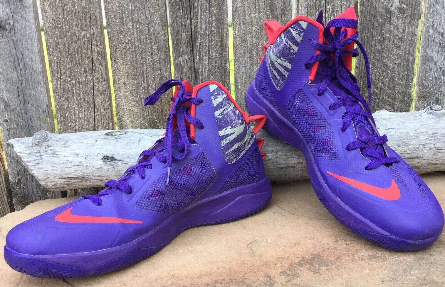 NIKE Zoom Hyperfuse Men's Basketball shoes 615896 Grey Purple  Size 13