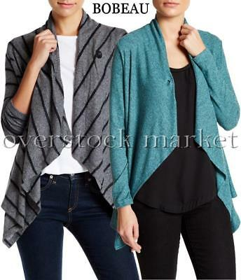 NEW WOMEN'S COLLECTION BY BOBEAU ONE BUTTON ASYMMETRICAL WRAP CARDIGAN VARIETY! | eBay