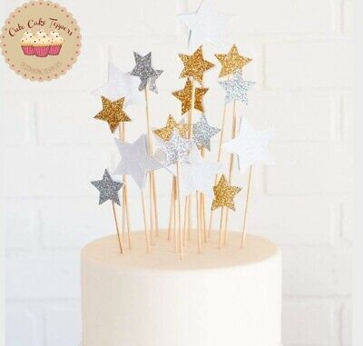 ⭐10 pcs Gliter Star shape cake Topper for Birthday cake and cupcake decoration⭐