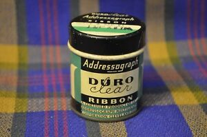 Hard-to-Find-Vintage-DURO-CLEAR-ADDRESSOGRAPH-Round-Ribbon-Tin-Cleveland-Ohio