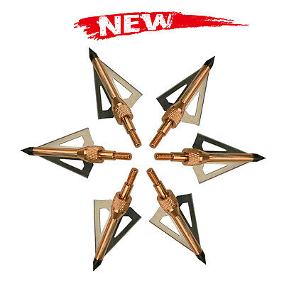 100 Grains Broadhead Arrow Heads 3 Blades replaceable Archery Target Hunting Red