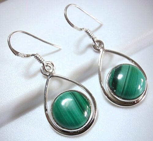Malachite Globe 925 Sterling Silver Dangle Earrings Dangle Drop Green Hoop New