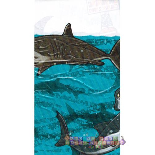 SUMMER SHARK PLASTIC TABLE COVER ~ Birthday Party Supplies Beach Decorations