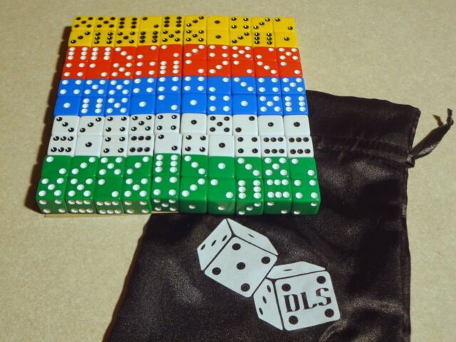 Lot of 100 White 16mm 16mm Dice Square Gaming Casino Fast Ship Bulk