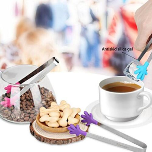 Silicone Food Tongs Salad Serving Bread Clip Stainless Steel Cooking Supplies CF