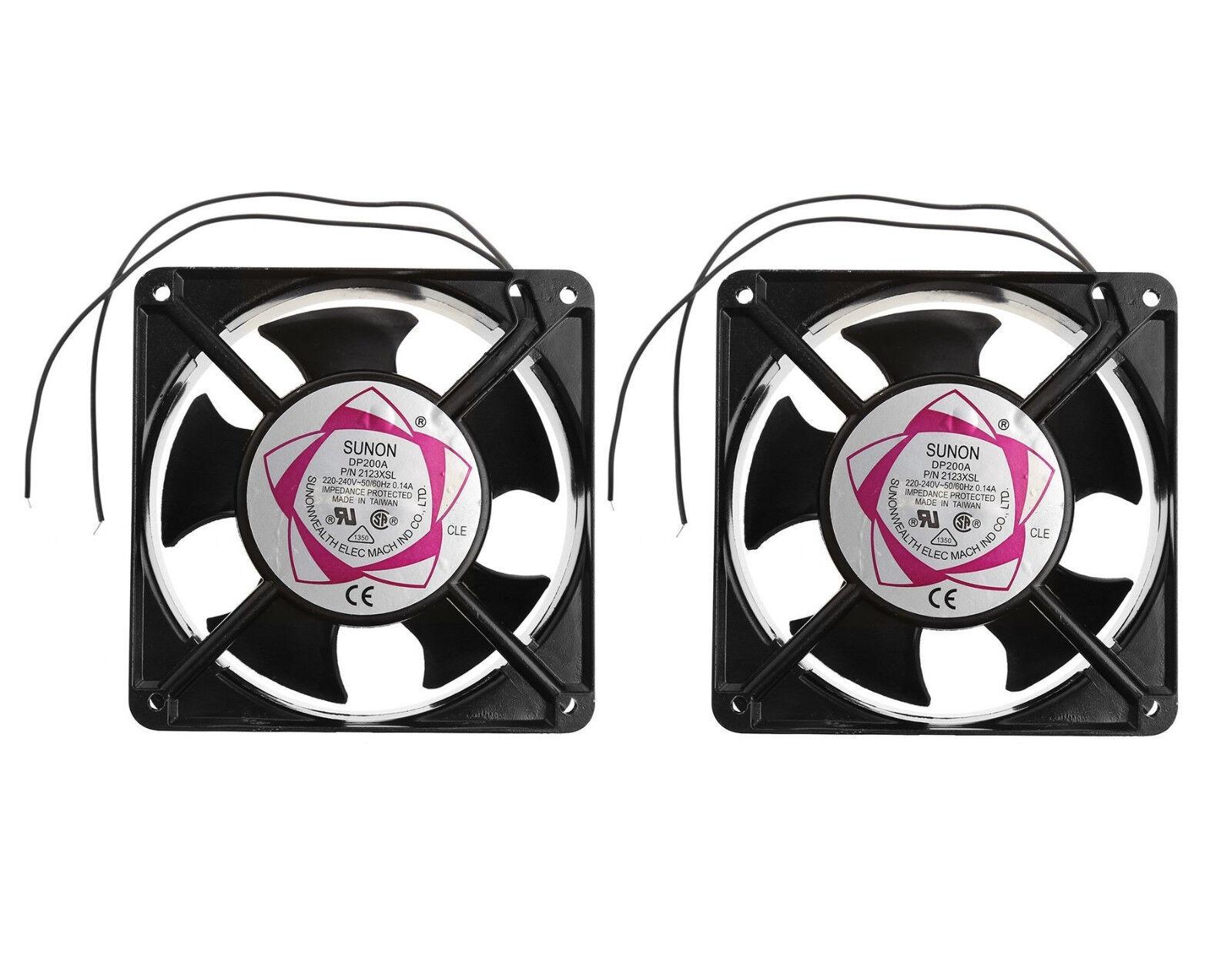 (2) Pack SUNON DP200A-2123XSL AC 220V 240V Case Cooling fan Sleeve Bearing (NEW)