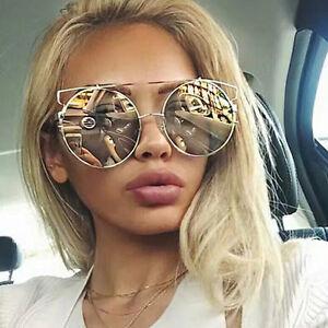 Large-Oversized-Cat-Eye-Sunglasses-Flat-Mirrored-Lens-Metal-Frame-Women-Fashion