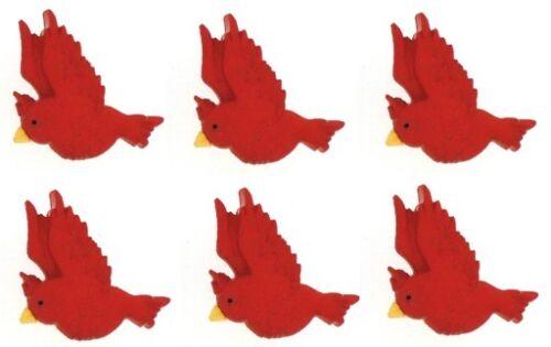 6 RED CARDINAL BIRD BUTTONS ~ Sew ~  Craft Jesse James Buttons ~ Dress It Up