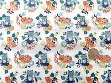 Sam & Mitzi Gatos En Crema Tela Fq 50x56 Cm 100% Algodón Lewis & Irene a01-2