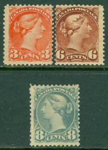 EDW1949SELL : CANADA 1888-93 Scott #41, 43-44 VG, Mint OG. Back faults. Cat $550