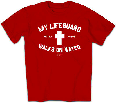 Mens Christian T-Shirt My Lifeguard Walks On Water by Kerusso BRAND-NEW
