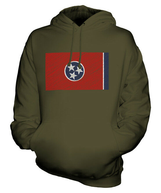 TENNESSEE STATE SCRIBBLE FLAG UNISEX HOODIE TOP GIFT TENNESSEAN FOOTBALL