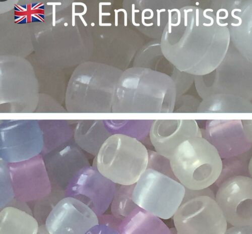 Pack 50 UV Transparent Poney Beads 6x8mm buy more Save More