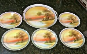 ANTIQUE-Noritake-Serving-Dish-W-GOLD-Handles-amp-5-PLATES-WINDMILL-amp-FALL-SCENE