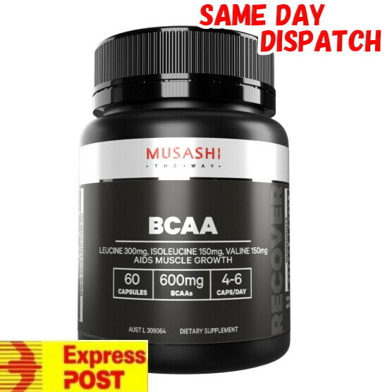 MUSASHI BCAA 600mg x 60 CAPSULES MUSCLE RECOVERY FREE EXPRESS AUST POST