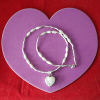 Beautiful Necklace With Silver And Mother Of Pearl 15 Inc.long + Pendant