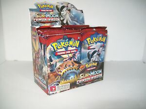 1x  Sun /& Moon Booster Box NM-Mint Sealed Product Crimson Invasion Pokemon