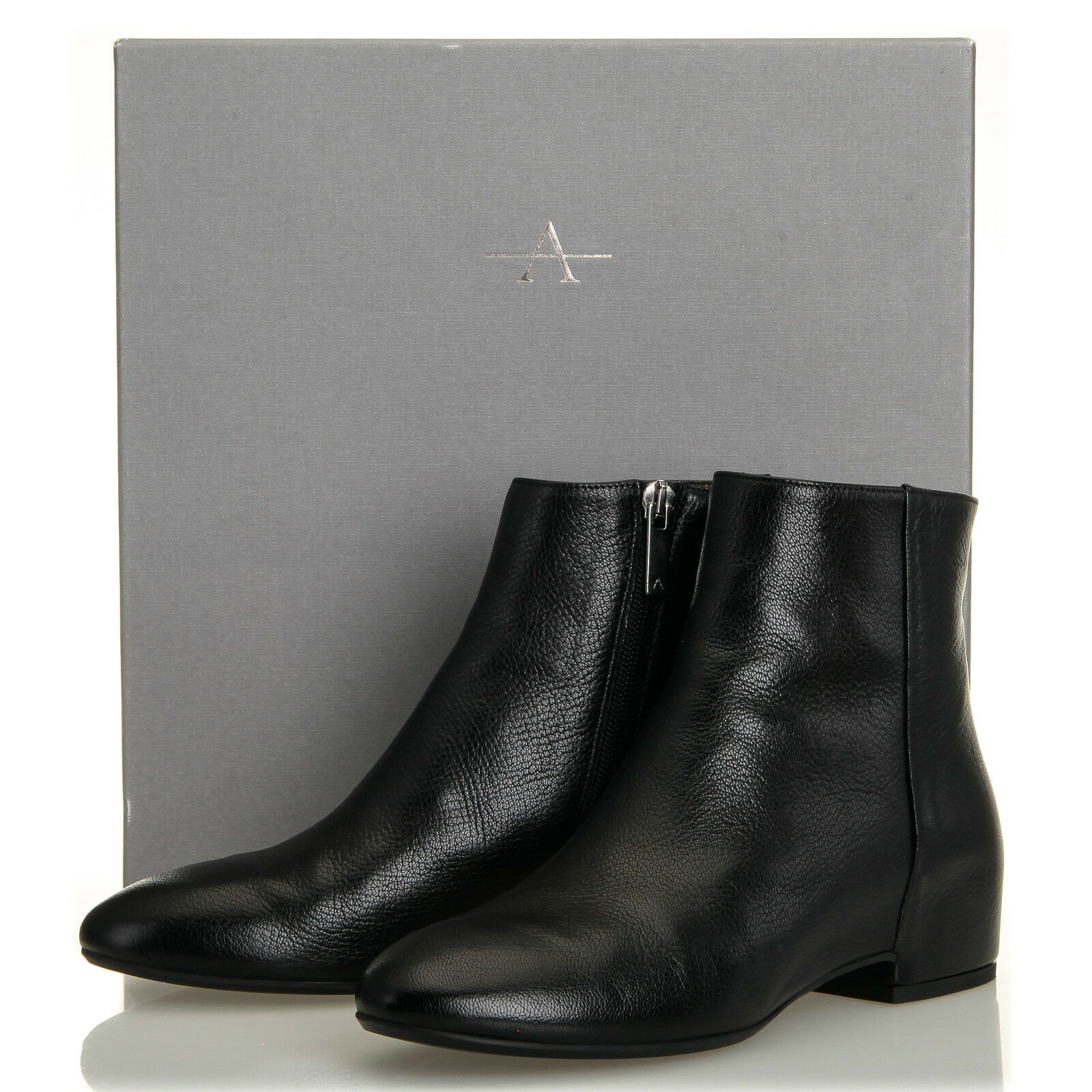 Aquatalia Uri Dolomite Black Pebbled Leather Bootie - Womens 7.5 M (Italy)