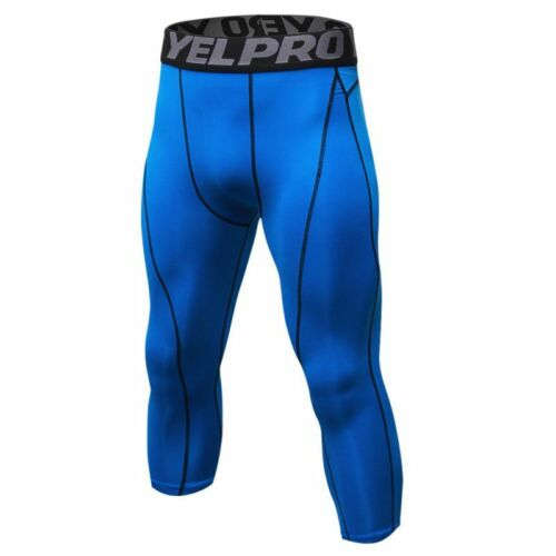 Mens Gym Sport Joggers Compression Base Layer Pants Capri Leggings 3//4 Trousers