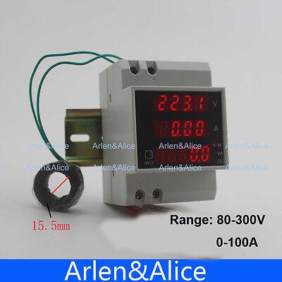 Din rail Multifunctional voltmeter ammeter 80-300V 0-100A  Current Transformer