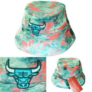 56e5b2ee Mitchell & Ness Chicago Bulls Bucket Hat Color Acid Wash Pink Green ...