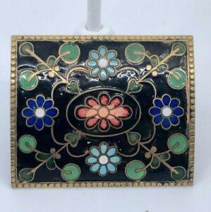 Vintage-or-Antique-Cloisonne-Enamel-Brass-Back-Floral-Brooch