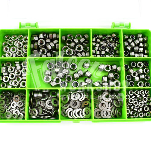 255 ASSORTED A4 STAINLESS MARINE M3 M4 M5 NYLOC FULL NUTS /& FORM A WASHERS KIT