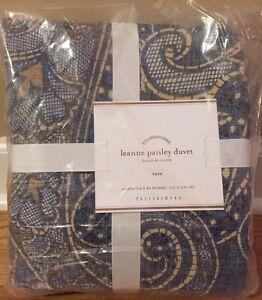 New Pottery Barn Leanne Paisley Twin Duvet Blue Ebay