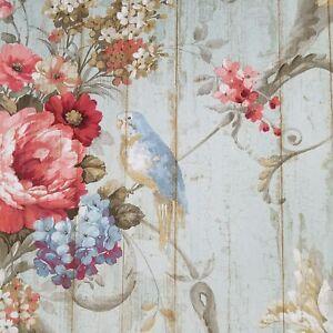York HA1326 Vintage Victorian Floral Bird Rose Blue Green Rustic Wood Wallpaper