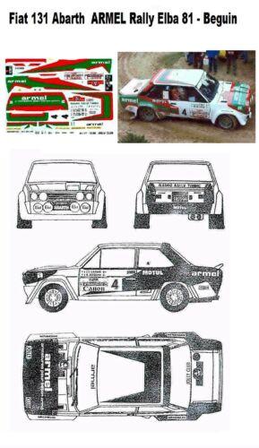 Decal ARMEL Rally Elba 1981 Beguin Fiat 131Abarth